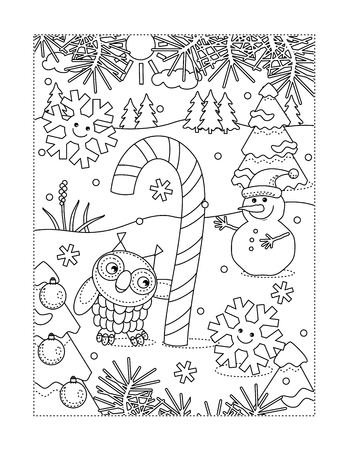 Winter holidays joy themed coloring page with big magic candy cane, owl, snowman, two cheerful snowflakes, outdoor scene Illusztráció
