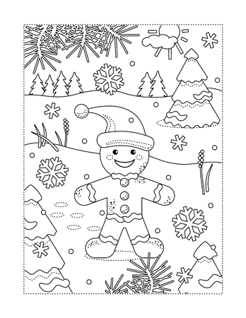Winter holidays joy themed coloring page with happy cheerful ginger man walking outdoor Stock Illustratie