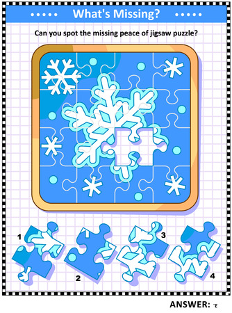 Winter holidays joy themed visual puzzle with snowflakes jigsaw puzzle (suitable both for children and adults): What's Missing? Can you spot the missing peace of jigsaw puzzle? Answer included. 写真素材 - 121550246