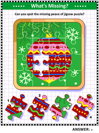 Winter holidays joy themed visual puzzle with  bauble on christmas tree branch jigsaw puzzle (suitable both for children and adults): Whats Missing? Can you spot the missing peace of jigsaw puzzle? Answer included. Illustration