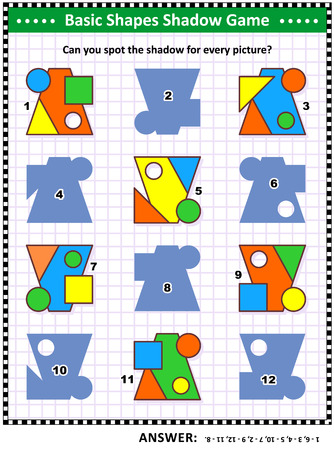 Educational math visual puzzle, basic shapes learning and practice themed: Match the pictures to their shadows. Answer included.
