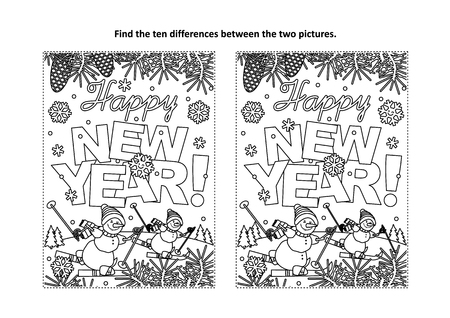 Happy New Year greeting find the ten differences picture puzzle and coloring page with greeting text, winter scene, skiing snowmen Stock Illustratie