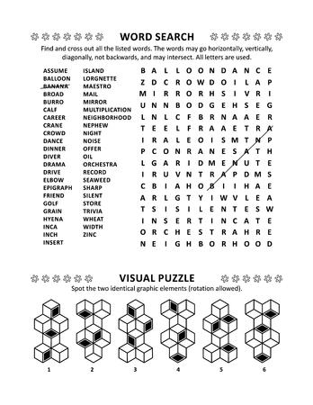 Puzzleseite mit zwei Denkspielen: Allgemeinwissen, nicht themenbezogenes Wortsuchrätsel (englische Sprache) und visuelles Rätsel. Schwarzweiß, A4 oder Letter-Format. Vektorgrafik