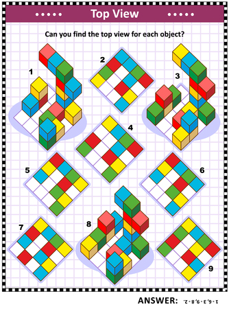 Educational math puzzle: Find the top view for each of the toy blocks structures. Answer included. Illustration