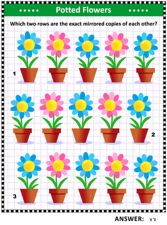 IQ training visual puzzle with potted flowers: Which two rows are the exact mirrored copies of each other? Answer included.