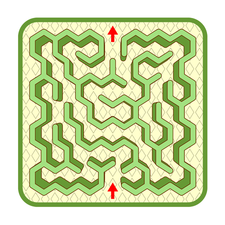 Abstract three-dimensional hexagonal shaped hedge maze game template, top view, ready for use. Or add legend text and cartoon characters, if needed. Illustration