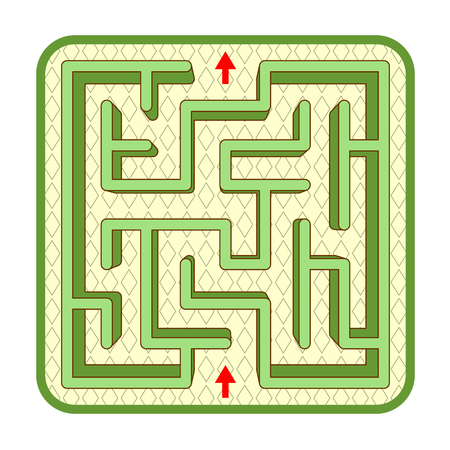 Abstract three-dimensional hedge maze game template, top view, ready for use. Or add legend text and cartoon characters, if needed.