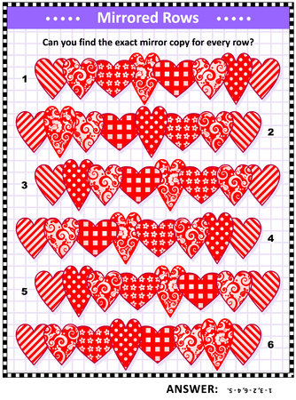 Valentines Day visual logic puzzle (suitable both for kids and adults): Match the pairs - find the exact mirrored copy for every row of hearts. Answer included. Çizim