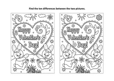 Día de San Valentín: encuentre el rompecabezas de las diez diferencias y la página para colorear con el texto de saludo del Día de San Valentín feliz y dos lindos conejitos