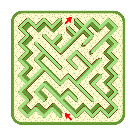 Abstract three-dimensional diagonally shaped hedge maze game template, top view, ready for use. Or add legend text and cartoon characters, if needed.