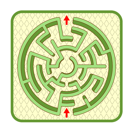 Abstract three-dimensional circle shaped hedge maze game template, top view, ready for use. Or add legend text and cartoon characters, if needed.
