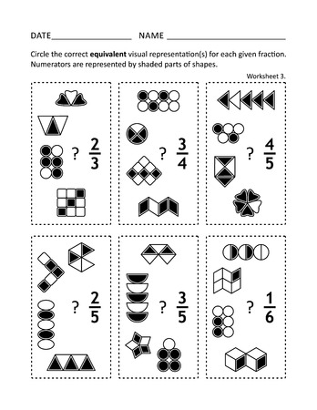 Math worksheet for students of all ages. Learn or reinforce fractions math skills for children and adults. Equivalent fractions. Visual or pictorial fraction representations. No-prep printable for teachers. 스톡 콘텐츠 - 121550990