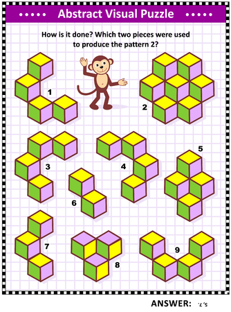 IQ, memory and spacial skills training abstract visual puzzle: How is it done? Which two pieces were used to produce the pattern 2? Answer included.
