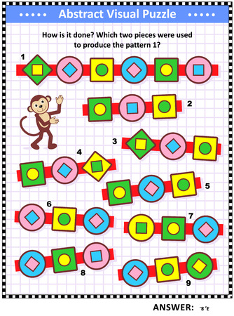 IQ, memory and spacial skills training abstract visual puzzle: How is it done? Which two pieces were used to produce the pattern 1? Answer included.