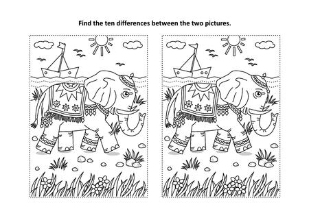 Encuentra el rompecabezas de imágenes de diferencias y la página para colorear con un hermoso elefante caminando por la orilla del mar
