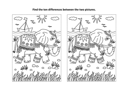 Find the differences picture puzzle and coloring page with beautiful elephant walking along the seashore