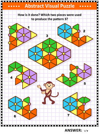 IQ, memory and spacial skills training abstract visual puzzle: How is it done? Which two pieces were used to produce the pattern 3? Answer included.