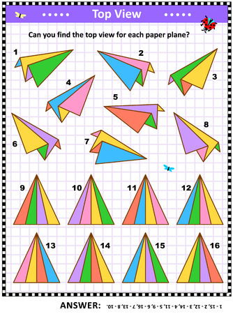 Math visual puzzle or picture riddle with colorful paper planes: Can you find the top view for each paper plane? Answer included. Reklamní fotografie - 121551082