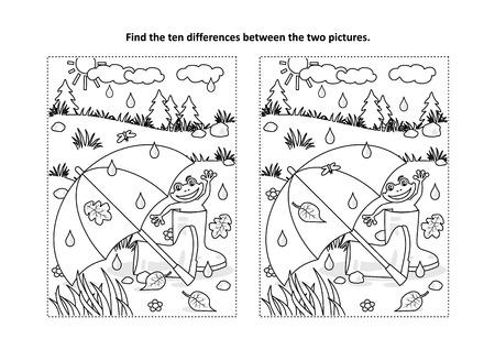 Otoño lluvioso o día de verano encuentra las diferencias, rompecabezas de imágenes y página para colorear con paraguas, botas de goma y una rana feliz. Ilustración de vector