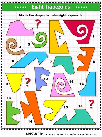 IQ and spatial skills training math visual puzzle: Match the shapes to make eight trapezoids. Answer included.