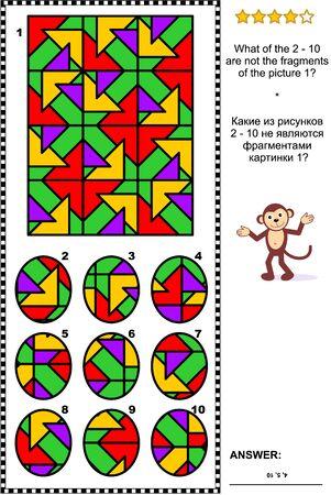 IQ-Training abstraktes visuelles Puzzle: Was von den 2 - 10 sind nicht die Fragmente des Bildes 1? Antwort enthalten.