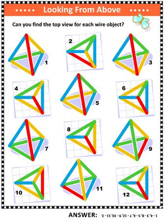 IQ and spatial skills training educational math puzzle: Find the top view for every object. Answer included.