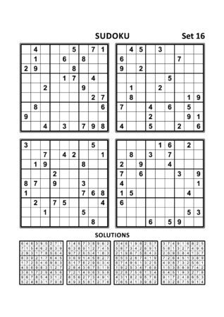 Four sudoku puzzles of comfortable (easy, yet not very easy) level, on A4 or Letter sized page with margins, suitable for large print books, answers included. Set 16. 写真素材 - 129961086