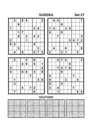 Four sudoku puzzles of comfortable (easy, yet not very easy) level, on A4 or Letter sized page with margins, suitable for large print books, answers included. Set 17.