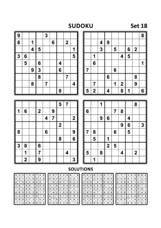 Four sudoku puzzles of comfortable (easy, yet not very easy) level, on A4 or Letter sized page with margins, suitable for large print books, answers included. Set 18. Illustration