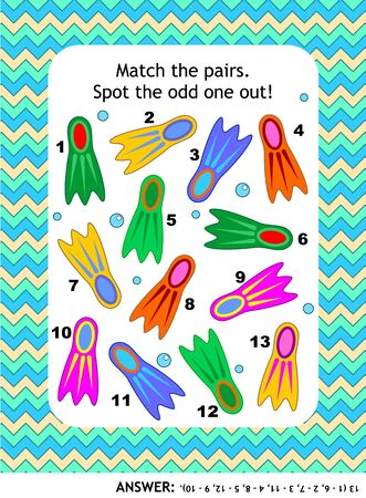 Visual puzzle with colorful scuba diving flippers (suitable both for kids and adults): Match the pairs. Spot the odd one out. Find the flipper that has no pair. Answer included. Illustration