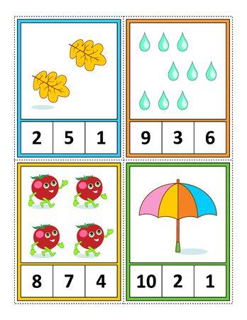 Herbstsaison zum Zählen von 1 bis 10 Übungsblatt für Kinder oder vier Aufgabenkarten (wenn entlang der gestrichelten Linien geschnitten): Zählen. Kreise die richtige Antwort ein. - Sprachunabhängig. Vektorgrafik