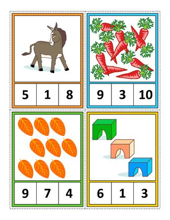 Autumn season themed counting 1 to 10 practice for kids worksheet or four task cards (when cut along the dotted lines): Count. Circle the correct answer. - Language independent.