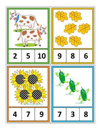 Herbstsaison zum Zählen von 1 bis 10 Übungsblatt für Kinder oder vier Aufgabenkarten (wenn entlang der gestrichelten Linien geschnitten): Zählen. Kreise die richtige Antwort ein. - Sprachunabhängig.