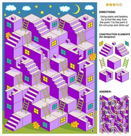 Herbstabend oder Halloween-Themen-3D-Labyrinthspiel: Versuche mit Treppen und Leitern den Weg von Punkt 1 zu Punkt 2 zu finden. Springe oder klettere nicht hoch! Antwort enthalten. Vektorgrafik