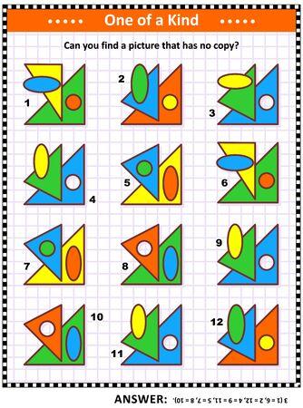 Puzzle éducatif de mathématiques pour enfants et adultes avec des formes de base - ovale, cercle, triangles - superpositions et couleurs : pouvez-vous trouver l'image qui n'a pas de copie ? Réponse incluse. Vecteurs