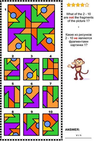 IQ, pamięć i trening rozumowania przestrzennego abstrakcyjna łamigłówka wizualna: Które z 2 - 10 nie są fragmentami obrazka 1? Odpowiedź w zestawie.
