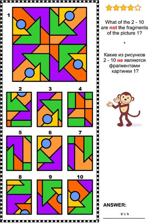 IQ, memory and spatial reasoning training abstract visual puzzle: What of the 2 - 10 are not the fragments of the picture 1? Answer included.