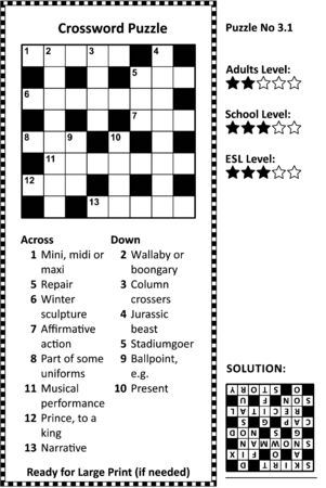 Kreuzworträtsel. Raster, Hinweise und Lösung. Klassisch, schnell, familienfreundlich. Leichter bis mittlerer Schwierigkeitsgrad. Vektorgrafik