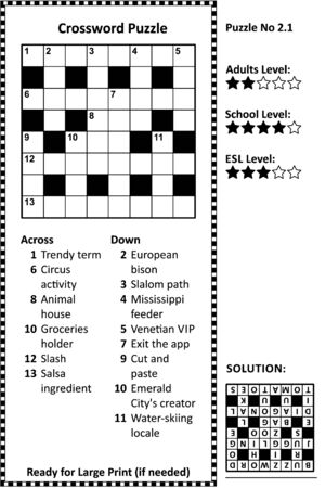 Crossword puzzle. Grid, clues and solution. Classic, quick, family friendly. Easy to medium difficulty level.