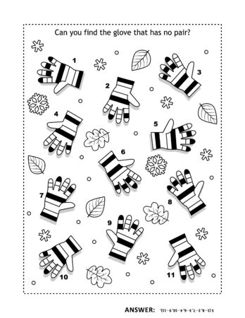 IQ training visual logic puzzle and coloring page with striped knitted gloves. Match the pairs. Spot the odd one out. Answer included.