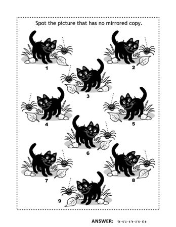 Halloween or autumn themed visual puzzle with black cats and spiders. Match the mirrored copies. Spot the odd one out. Answer included. Ilustração