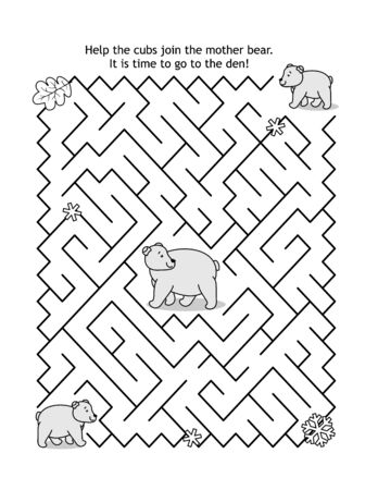 Maze game for kids with two bear cubs and mother bear: Help the cubs join the mom bear. It is time to go to the den and prepair to hybernate! Ilustração