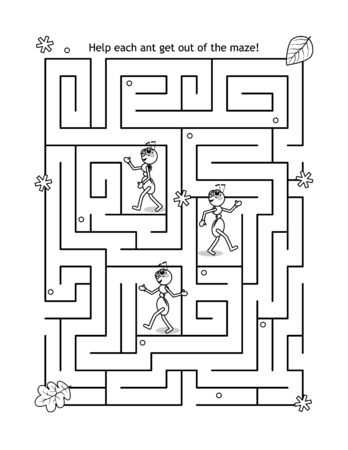 Maze game for kids with ants in autumn labyrinth: Help each ant get out of the maze!