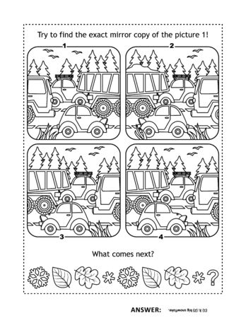 Puzzle page or activity sheet with two games. Cars on the road: Try to find the exact mirror copy of the picture 1! Autumn leaves and snowflakes: What comes next? Ilustração