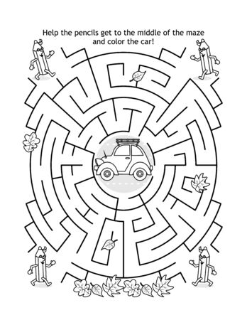 Maze game and coloring page for kids with car and pencils: Help the pencils get to the middle of the maze and color the car.