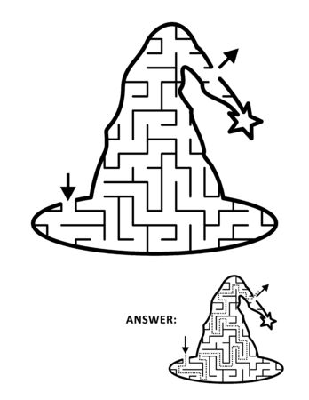 Halloween festival themed maze or labyrinth, witch hat shaped. Answer included.