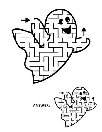 Halloween festival themed maze or labyrinth, cute little ghost shaped. Answer included. Ilustração