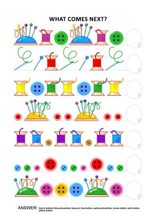 Sewing themed educational logic game training sequential pattern recognition skills: What comes next in the sequence? Answer included. Ilustração