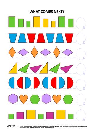 Shapes and colors educational math and logic game. Training sequential pattern recognition skills: What comes next in the sequence? Answer included. Ilustração