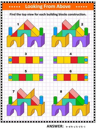 Educational math puzzle: Find the top view for each building blocks construction. Answer included.